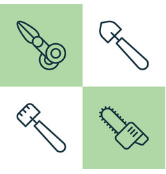 Equipment icons set collection of clippers scoop vector