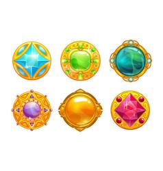 fantasy golden amulets set vector image vector image