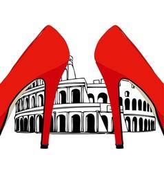 Fashion under the colosseum rome vector
