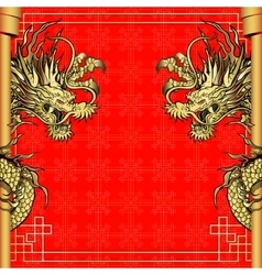 Frame red dragon gold-colored sticker 4 vector