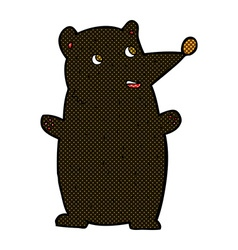 Funny comic cartoon black bear vector