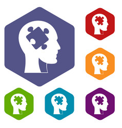 head with puzzle icons set hexagon vector image