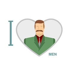 I love men Male and symbol of heart of a m vector image