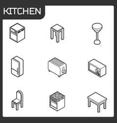kitchen outline isometric icons set vector image