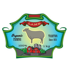 label for packing lamb with sheep vector image vector image