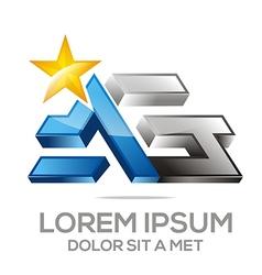 Letter ag alphabet star vector