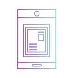 line smartphone technology with document vector image