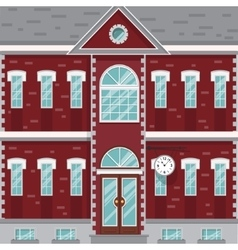 Mansion red and white old building with clock on vector image