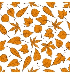 Orange autumn leaves seamless pattern background vector image