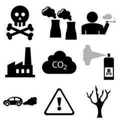 pollution and industrial icons vector image vector image