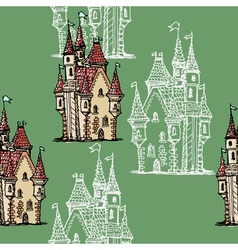 seamless background with medieval castle vector image vector image
