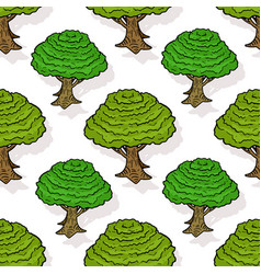seamless pattern of green trees cartoon design vector image vector image