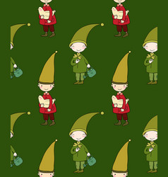 Seamless pattern with cute gnome and bird vector