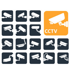 Security camera icons video surveillance vector
