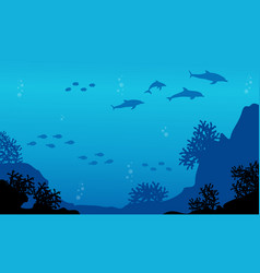 Silhouette of fish and dolphin landscape vector