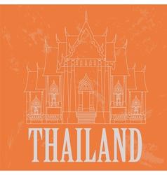 Thailand landmarks retro styled image vector