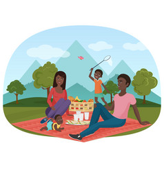 the of cheerful african family vector image vector image