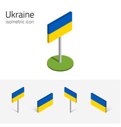 ukraine flag set of 3d isometric icons vector image vector image