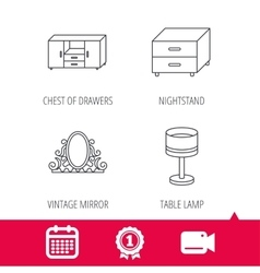 Vintage mirror table lamp and nightstand icons vector image