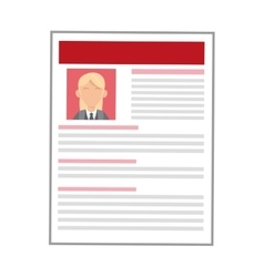 Woman red curriculum vitae icon vector