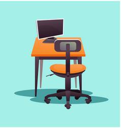 Working computer desk vector