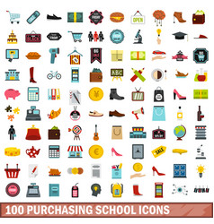 100 purchasing school icons set flat style vector