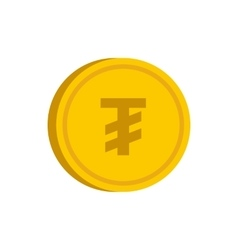 Gold coin with mongolian tugrik sign icon vector