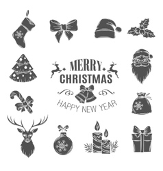 Set monochrome christmas icons vector image