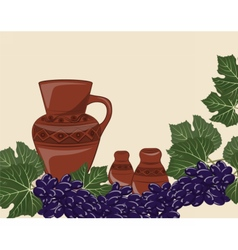 Traditional jug of wine vector