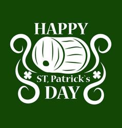 Saint patrick day symbol of green ale beer pub vector
