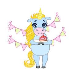 Cartoon light blue unicorn holding a plate with vector