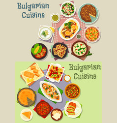 Bulgarian cuisine lunch dishes icon set design vector