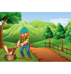 A lumberjack chopping the woods at the pathway vector