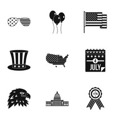 Usa patriotic holiday icon set simple style vector