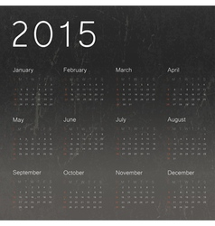 calendar 2015 on black schoolboard texture vector image
