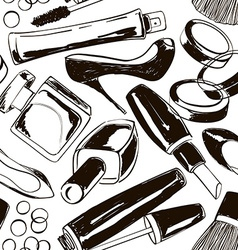 Seamless pattern of womens cosmetics and shoes vector image