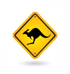 yellow sign with kangaroo vector image
