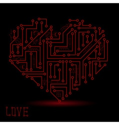 printed dark red electrical circuit board heart vector image