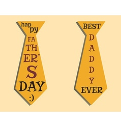 Happy Fathers Day elements Orange Tie and vector image