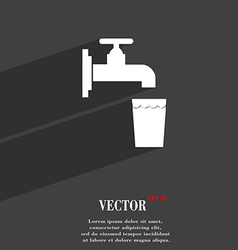 Faucet glass water icon symbol flat modern web vector