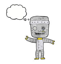 Cartoon funny old robot with thought bubble vector