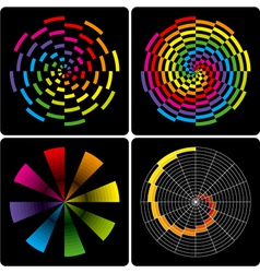 set of abstract colorful circular shapes vector image