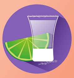 Sake glass witth lime slice vector
