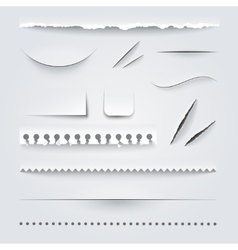 White paper edges shadows realistic set vector