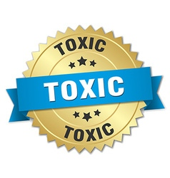 Toxic 3d gold badge with blue ribbon vector