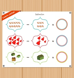 Subtraction number - worksheet for education vector