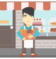 Baker holding basket with bakery products vector