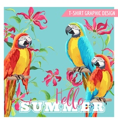 Tropical graphic design parrot birds and tropical vector
