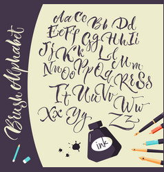 artistic background with ink pens and alphabet vector image