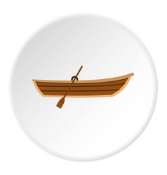 Boat with paddle icon circle vector